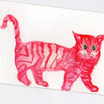 ACEO Red Striped Cat Painting Original by SharonFosterArt on Etsy