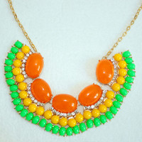 Orange Statement Necklace,Fan Fringe Necklace,Fanned Women Bib,Cute Girls Necklace,Gift for Her, Bridesmaids,Flower Girl