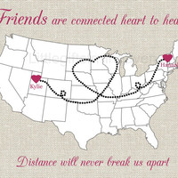 Friends Are Connected Textured Map Print- gift for best friend, connected hearts map, long distance friend, map with hearts, moving away