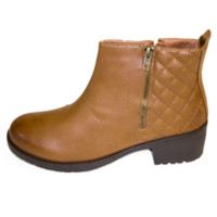 Tan Quilted Ankle Bootie