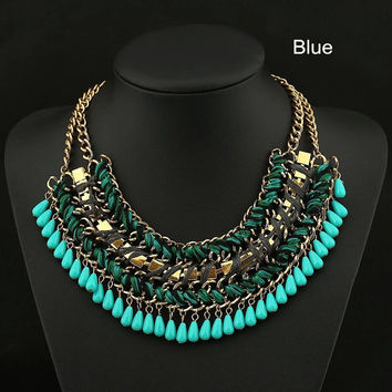 Bib Collar Necklace Layers Statement Necklace Jewelry Bubble Necklace Chunky Necklace Tassels Necklace Jewelry Women Prom Necklace Jewelry