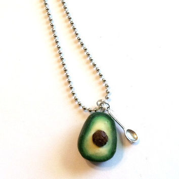 Avocado and Spoon Necklace, Polymer Clay Food Jewelry
