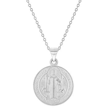 925 Sterling Silver Saint Benedict Medal Necklace Pendant Reversible Catholic 19""