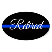 RETIRED POLICE OFFICER OVAL BUMPER STICKER
