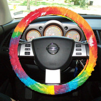 Tye Dye canvas Steering Wheel Cover by mammajane on Etsy