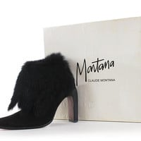 """Vintage Claude Montana Boots 6-6.5 Black Suede Leather Fur 1980's Avant Garde Ankle Booties / Sculptural High Heel Stiletto Boot 9.9"""" Insole"""