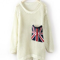 Beige Long Sleeve Union Jack Pocket Open Stitch Jumper$37.00