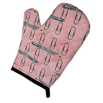 Watercolor Organized Paper Clips Pink Oven Mitt BB7539OVMT