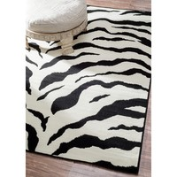 nuLOOM Zebra Animal Print Black/ Ivory Rug (4' x 5'7) | Overstock.com Shopping - The Best Deals on 3x5 - 4x6 Rugs