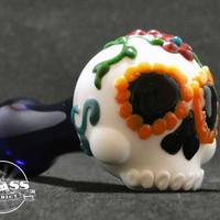 Sugar Skull Glass Pipe