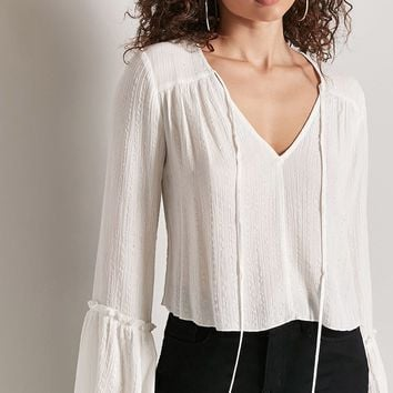 Metallic Peasant Top