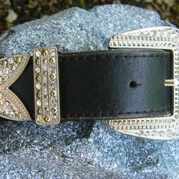 Black Leather Rhinestone Belt With Art Deco Rhinestone Belt Buckle Distressed