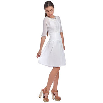 WHITE DRESS WITH BODICE AND LACE INSERT