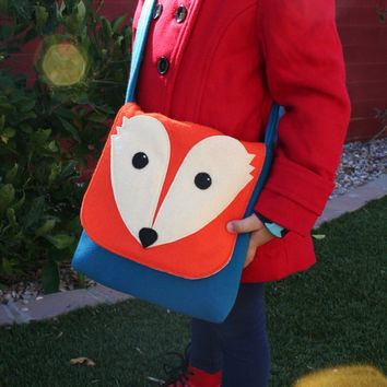 Messenger Bag- Fox- Small Wool Bag- Kids Purse- Woodland Bag