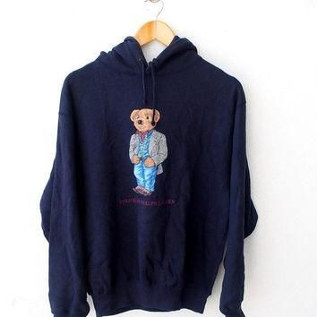 BIG SALE 25% Vintage 90's POLO Ralph Lauren Usa Bear Casual Wear Blue Hoodie Sweater S