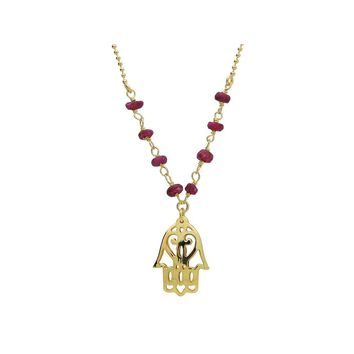 "Silver Gold Plated 16""+ 2"" Necklace Ruby Beads and Hamsa Hand Pendant"