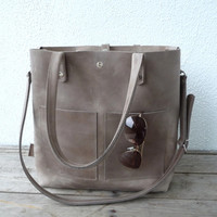 Leather bag, large leather bag, big leather bag, leather bag woman, leather bag women, modern laptop bag, Enie frontpocket - mud-grey!