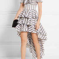 Caroline Constas - Artemis off-the-shoulder tiered cotton-poplin mini dress