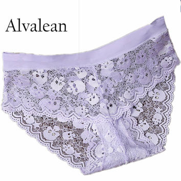 Lace seamless women panties pink briefs hot sale female skull transparent string panties underwear sexy briefs