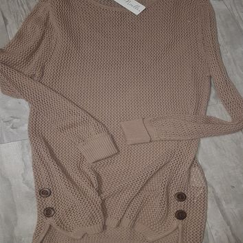 Open Weave Sweater w/Side Buttons in Khaki