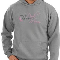 Breast Cancer Awareness Hoodie Sweatshirt Ribbon I Wear Pink For My Mom Adult Hoody Athletic Heather