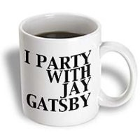 3dRose I Party with Jay Gatsby Great Gatsby Ceramic Mug, 15-Ounce