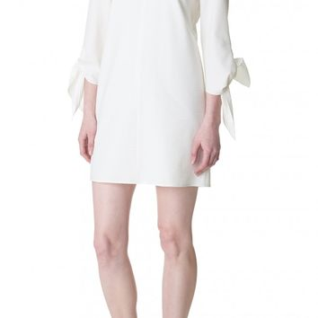 Tibi Seersucker Tie Sleeve Dress