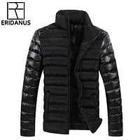 New Winter Men Jackets Mens Coat Fashion Leather Sleeve Design Outerwear Down Cotton Padded Jacket