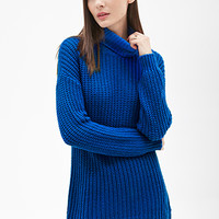 FOREVER 21 Longline Turtleneck Sweater Bright Cobalt