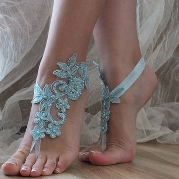 Free Ship blue ivory white black barefoot sandals,  laceBarefoot Sandals, french lace, Beach wedding barefoot sandals