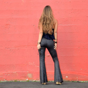 VEGAN FAUX LEATHER or vintage suede fall fashion hippie chic boho dance yoga festival burning man 70's gypsy bell bottom flares