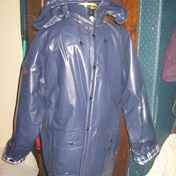 Vintage VINYL navy plaid flannel lined Duck Bay Rain Coat Jacket sz large