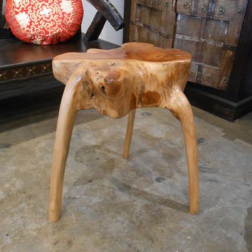 Contoured Teak Wood Side Table