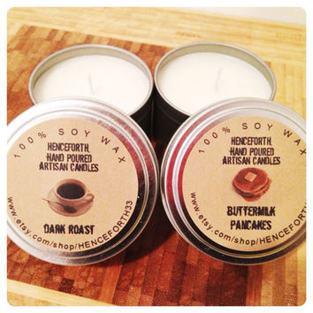 BREAKFAST: 2 candle set, Pancake & Coffee scented candles, breakfast in bed, valentines gift, food scented soy candle
