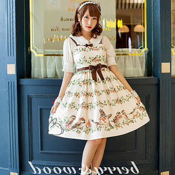 Wild Rose & Sparrow Floral Printed Elegant Women's Sweet Lolita Dress JSK Sleeveless Bows Cute Casual Suspender Dress Mori Girl