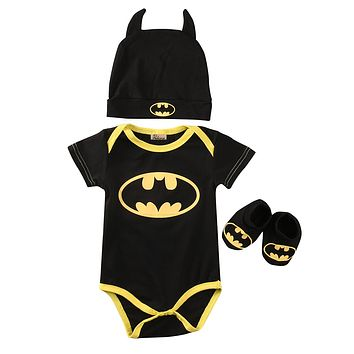 Newborn Toddler Baby Boys Clothes Batman Outfits Cotton Rompers+ Shoes +Hat Batman Outfits 3Pcs!!! Set 0-24M