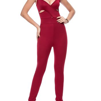 Streetstyle  Casual Sexy Spaghetti Strap Cutout Solid Slim-Leg Jumpsuit