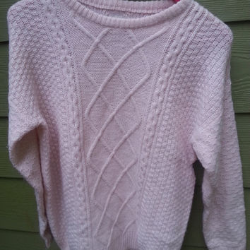 Vintage Pale Pink Oversize Cotton Fisherman Sweater 80s Size XS S