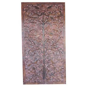 Mogul Artisan Vintage Hand Carved Door Panel Indian Art - TREE OF Dreams- Wall Hanging , Eclectic Interior Design - Walmart.com