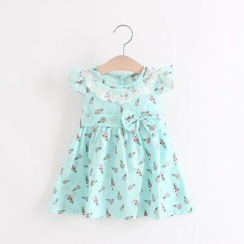 Baby Dresses for Girls Summer Cotton Sleeveless Lace Collar Baby Dress 2017 Floral Print Princess Dresses Baby Girl Clothing