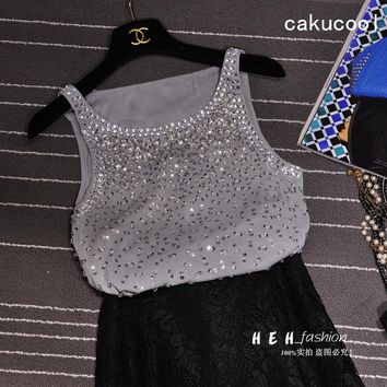 Cakucool Women Beading Tanks Mesh Diamond Sequins Camisole Korea Design Summer Basic Tank Top Camis Female Grey Black