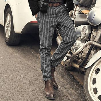 2017 New England Style Spring Men Slim Fit Straight long Pants Male Casual stripe skinny casual pants business Fashion trousers
