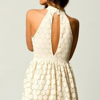 Cream Mini Dress with High Neckline&Keyhole Back