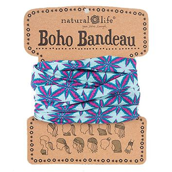 Women's Boho Bandeau, Light Teal Blue with Pink Bursts