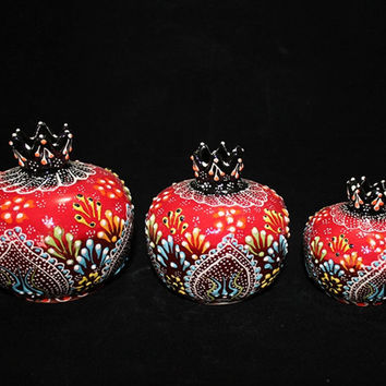 Hand Painted Turkish Plentifulness Pomegranate