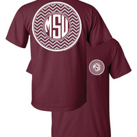 Southern Couture MSU Bulldogs Mississippi State University Monogram Chevron Logo Girlie Bright T Shirt