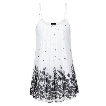 Womens Sleeveless Floral Print Summer Tunic Top Long Women Camisole Summer Style Fashon Tank Tops Pleated Plus Size Vest