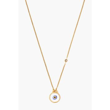 Chan Luu White Evil Eye Necklace With Champagne Diamond