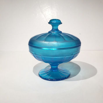 Fenton Paneled Glass Blue Candy Jar with Lid, Fenton Glass Celeste Blue Iridescent Glass Candy Bowl Lid, Depression Glass Covered Candy Jar
