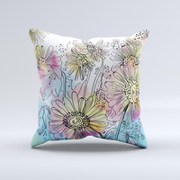 Colorful WaterColor Floral ink-Fuzed Decorative Throw Pillow